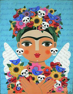Frida Kahlo Flowers Painting - Frida Kaho Mother Earth Angel by LuLu Mypinkturtle