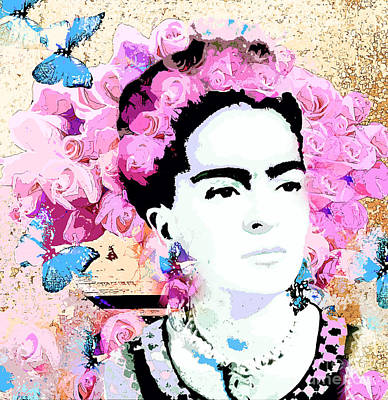 Painting - Frida Kahlo And Pink Roses by Saundra Myles