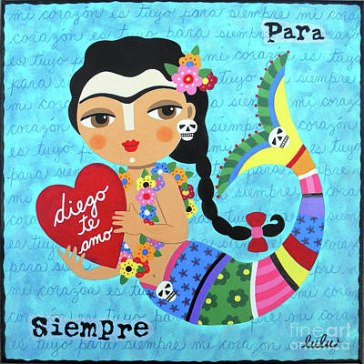 Naive Art Painting - Frida Mermaid With Heart To Diego by LuLu Mypinkturtle