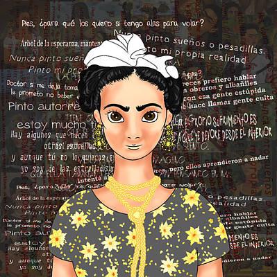 Frida Drawing - Frida Ok Black by Rene Lopez