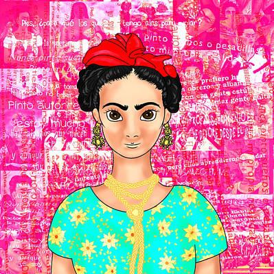 Frida Drawing - Frida Ok Pink by Rene Lopez
