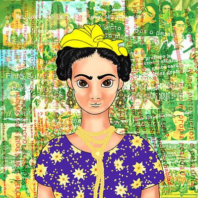 Frida Drawing - Frida Ok Purple Shirt by Rene Lopez