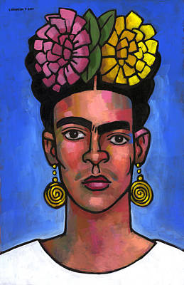 Frida On Blue Background Art Print by Douglas Simonson