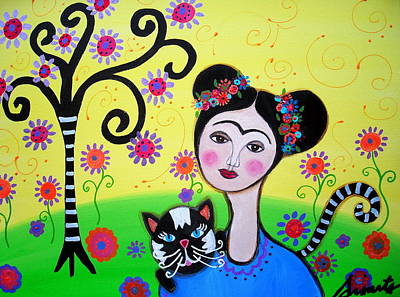 Frida Kahlo Painting - Frida With Her Cat by Pristine Cartera Turkus