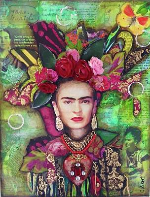 Frida Mixed Media - Frida With Her Flowers by Carrie Eckert