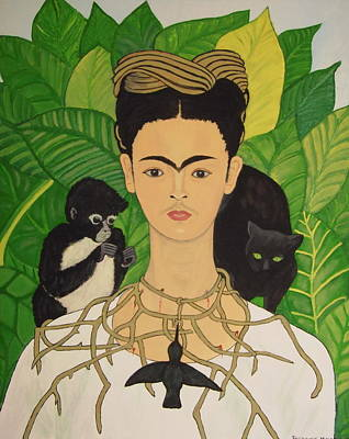 Frida With Monkey And Cat Art Print by Stephanie Moore
