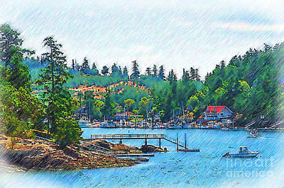Digital Art - Friday Harbor Sketched by Kirt Tisdale
