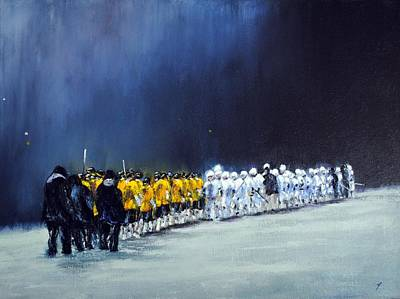 Lacrosse Painting - Friday Night Lights by Kenneth DelGatto