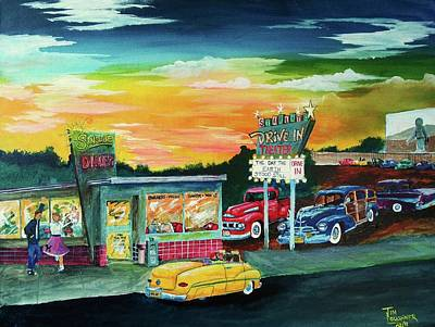 Drive In Painting - Friday Night by Tim Loughner