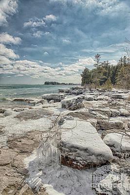 Nikki Vig Royalty-Free and Rights-Managed Images - Frigid Shores of Lake Michigan by Nikki Vig