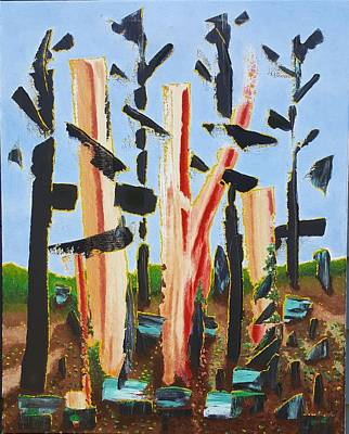 Wall Art - Painting - Fried Bacon Trees by Dave Martsolf
