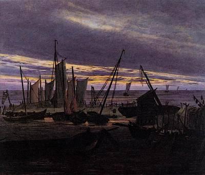 Caspar Digital Art - Friedrich Caspar David Boats In The Harbour At Evening by Caspar David Friedrich