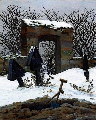 Caspar Digital Art - Friedrich Caspar David Graveyard Under Snow by Caspar David Friedrich