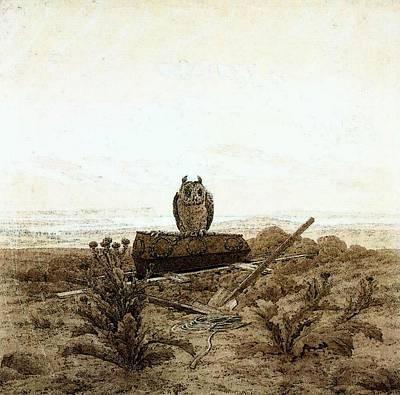 Caspar Digital Art - Friedrich Caspar David Landscape With Grave Coffin And Owl by Caspar David Friedrich