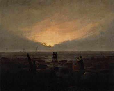 Caspar Digital Art - Friedrich Caspar David Moonrise By The Sea by Caspar David Friedrich