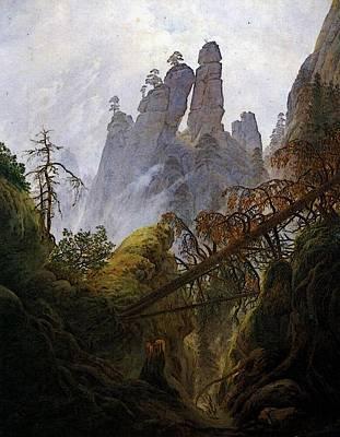 Caspar Digital Art - Friedrich Caspar David Rocky Ravine by Caspar David Friedrich