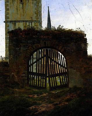 Caspar Digital Art - Friedrich Caspar David The Cemetery Gate by Caspar David Friedrich