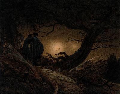 Caspar Digital Art - Friedrich Caspar David Two Men Contemplating The Moon by Caspar David Friedrich