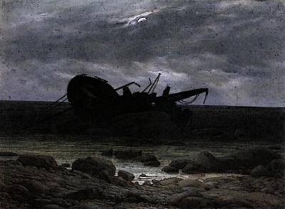 Caspar Digital Art - Friedrich Caspar David Wreck In The Moonlight by Caspar David Friedrich