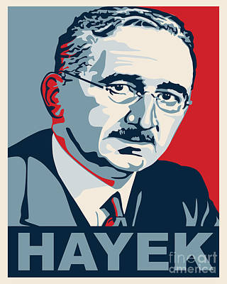 Libertarian Party Drawing - Friedrich Hayek by John L