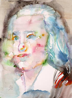 Friedrich Holderlin - Watercolor Portrait Original by Fabrizio Cassetta