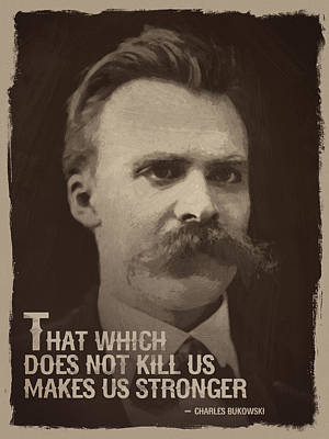 Cafe Painting - Friedrich Nietzsche Quote by Afterdarkness