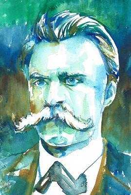 Friedrich Nietzsche Watercolor Portrait.1 Art Print