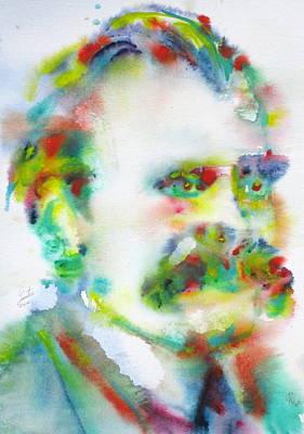 Painting - Friedrich Nietzsche - Watercolor Portrait.10 by Fabrizio Cassetta