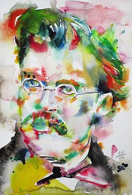 Painting - Friedrich Nietzsche - Watercolor Portrait.12 by Fabrizio Cassetta