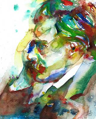 Painting - Friedrich Nietzsche - Watercolor Portrait.13 by Fabrizio Cassetta