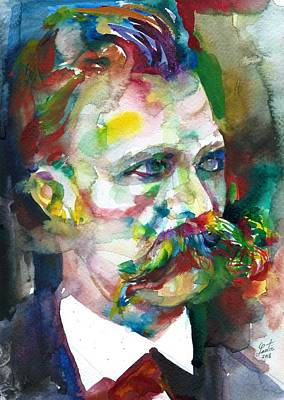 Painting - Friedrich Nietzsche - Watercolor Portrait.14 by Fabrizio Cassetta