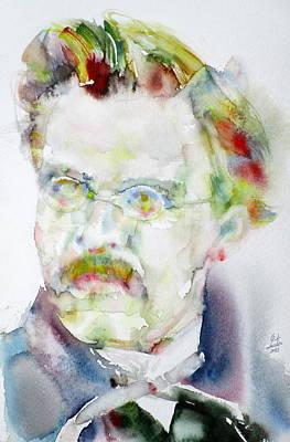 Friedrich Nietzsche - Watercolor Portrait.6 Original by Fabrizio Cassetta