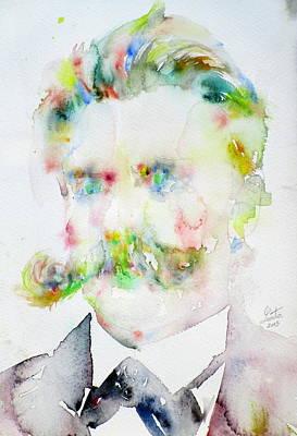 Friedrich Nietzsche - Watercolor Portrait.7 Original by Fabrizio Cassetta