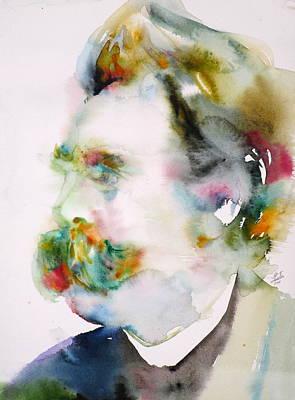 Friedrich Nietzsche - Watercolor Portrait.8 Original by Fabrizio Cassetta