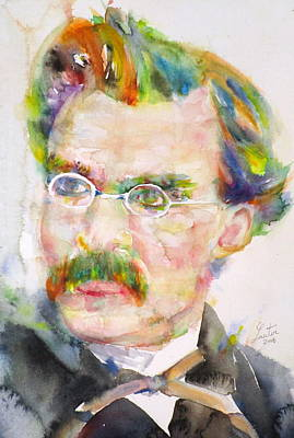 Friedrich Nietzsche - Watercolor Portrait.9 Original