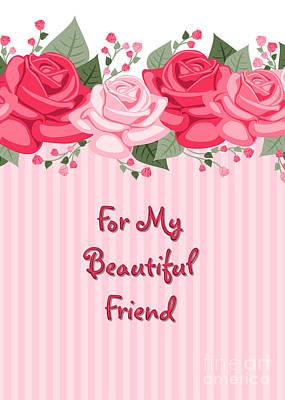 Digital Art - Friend Striped Rose Topped by JH Designs