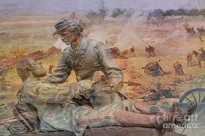 Animals Digital Art - Friend to Friend Monument Gettysburg Battlefield by Randy Steele