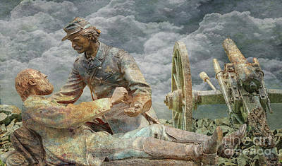 Digital Art - Friend To Friend Monument Gettysburg Cannon by Randy Steele