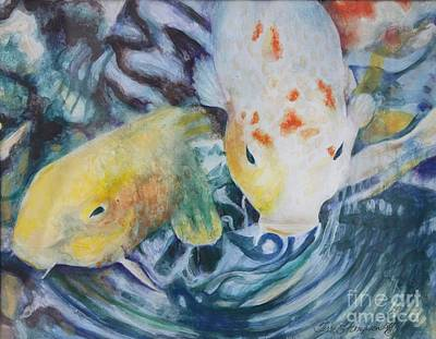 Painting - Friendliest Koi In The Pond by Terri Thompson