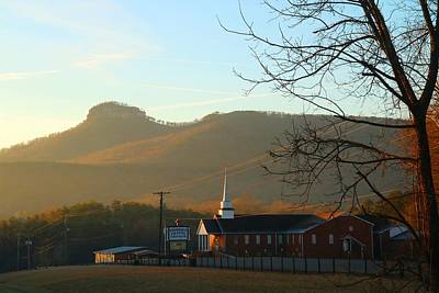 Photograph - Friendly Chapel Church And Pilot Mountain by Kathryn Meyer