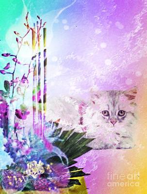 Digital Art - Friendly Feline by Maria Urso