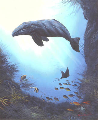 Painting - Friendly Grey Whale by Susan Elizabeth Wolding