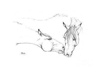 Andalusian Horse Drawing - Friendly Kiss by Angel Tarantella