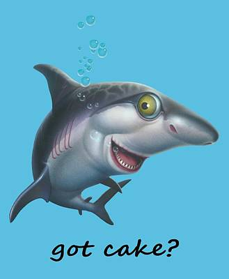 friendly Shark Cartoony cartoon under sea ocean underwater scene art print Art Print