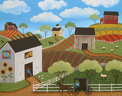 Barn Landscape Painting - Friends And Neighbors by Mary Charles