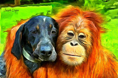 Orangutan Digital Art - Friends - Da by Leonardo Digenio