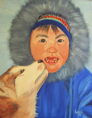 Arctic Dog Painting - Friends For Life by Arthur Antille