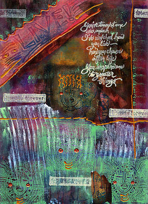 Print featuring the mixed media Friends Forever by Angela L Walker