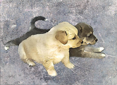Puppy Digital Art - Friends Forever  by Svetlana Sewell