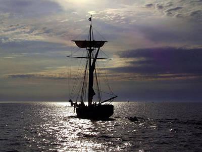 Friends Good Will Tall Ship Silhouette Print by Richard Gregurich